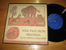 "FOLK TALES FROM INDONESIA Told By Harold Courlander 10"" LP FOLKWAYS VG+ VINYL"