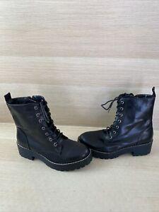 Dirty Laundry Black Faux Leather Lace Up/Zip Platform Ankle Boots Women's Size 8