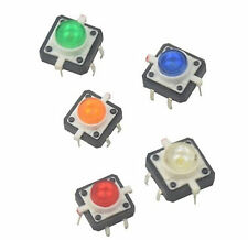 5X Tactile Push Button Switch Momentary Tact LED 12X12mm Round Cap 5 colD9N7 1X