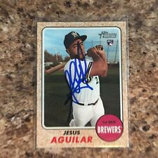 Jesus Aguilar Signed 2017 Topps Heritage Auto Milwaukee Brewers Tampa Bay Rays