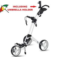 Folding Push Pull Golf Cart 3 Swivel Wheels Brake Aluminum Lightweight Trolley