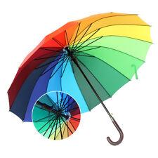 Hot Large Bright Multi Colourful Rainbow Golf Unbrella Long handle umbrella UK