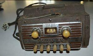 Original 1940's-50's Pontiac Automobile radio Nice front Chrome plate
