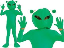 Kids Boys Book Day Lime Green Alien Martian Monster Spaceman Fancy Dress Costume Large Age 8 - 10 Years