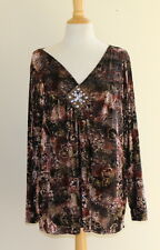Susan Lawrence Art-to-Wear Funky Paisley Velvet Burnout Beaded V-Neck Top Sz 2X