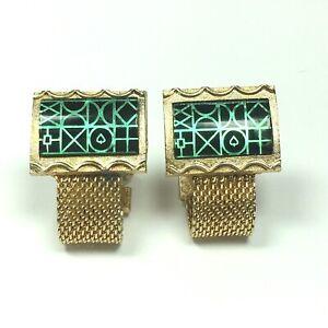 Mesh Wrap Around Cufflinks Hickok USA Green Acrylic Abstract Vintage Gold Tone