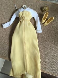 """Franklin Mint 16""""vinyl TITANIC ROSE DOLL STROLLING OUTFIT Yellow Gown,Shoes &Bag"""