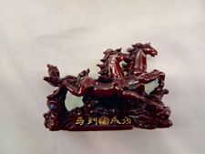 "Japanese Shiny Red Resin Running Horses Statue Figure 5.5""w x 3.5"" h Paperweight"