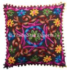 Suzani Embroidered Cushion Cover Indian Uzbek Pillow Case 16X16 Decorative Cover