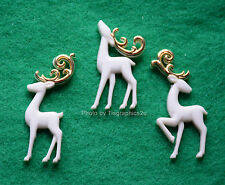 Majestic Reindeer / White Reindeer / Flat Back Buttons / Dress It Up Holiday