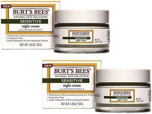 2 x 50g Burts Bees Sensitive Night Cream with Cotton Extract