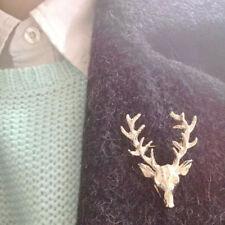 Men Vintage Stag Deer Gold Reindeer Brooch Pin Christmas Wedding Party