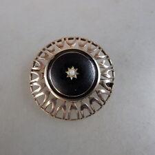 Runde Brosche schwarze Emaille Lotperle Rosegold 12 gr. um 1920 (46751)