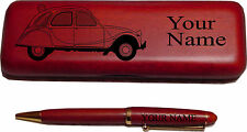 Citroen 2 CV Rosewood Pen & Case Engraved