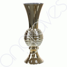 Gold Glass Art Deco Ribbed Fluted Vase (45cm) Home Decoration Decor Flower