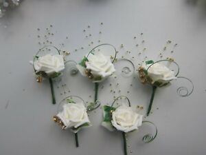 5 Wedding Flowers Buttonholes Ivory Rose, Diamantes & Gold Pearl Beads