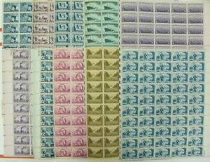 922  927  934  938  939  942  947  957  970  1007  TEN early 3 cent mint sheets