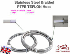 8MM x 1/2MTR STAINLESS STEEL BRAIDED PTFE TEFLON FUEL HOSE LINE OIL PETROL HOSE