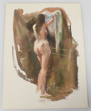 WATERCOLOR PAINTING BY FLORIAN K. LAWTON. FEMALE NUDE.