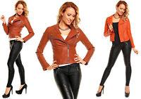 Damen Jacke Leder Look Leder Optik Kustleder Bikerjacke Motorradjace 3B069
