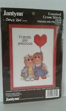 """NOS 1987 Counted Cross Stitch Kit Suzy's Zoo Design Friends Are Precious 5""""x7"""""""