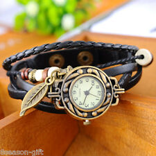 Gift 1PC Fashion Leaf Pendant Leather Weave Women Ladies Bracelet Wrist Watch