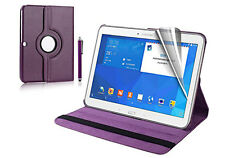 Rotating Magnet Flip Leather Stand Case Cover for Samsung Galaxy Tab 4 T530 Purple