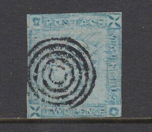 Mauritius Sc 14Bd used 1859 2p blue on bluish Queen Victoria Worn Impression