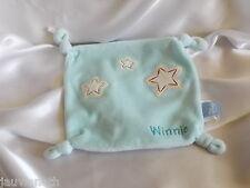 Doudou Winnie l'ourson, carré bleu, brodé étoile, Disney Baby
