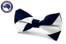 Men's Silver with Navy Blue Stripes Bowtie Striped Bow Tie in Solid Colors