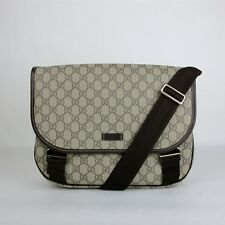 Gucci Beige/Ebony GG Plus Coated Canvas Messenger Bag with 2 Buckles 201732 8588