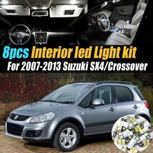 8Pc White Car Interior LED Light Bulb Kit for 2007-2013 Suzuki SX4/Crossover
