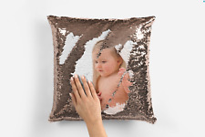 Personalised Photo Your Name, Text Sequin Pillow Cushion Cover Magic Reveal Gift