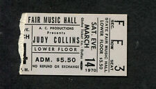 Original 1970 Judy Collins Concert Ticket Stub Dallas TX Send In The Clowns