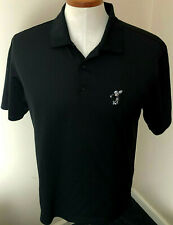 Nike Golf Mens Sz. Med Disney Mickey Mouse Polo Shirt Dri Fit Black Embroidered