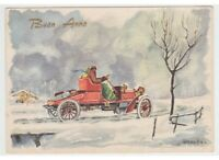 1959 Negroni Card Christmas Tableware Vintage Classic Car Red Snow