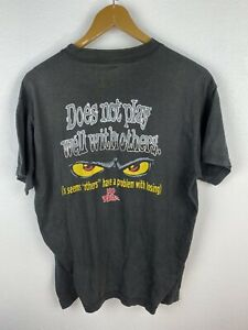 Vintage 90s No Fear Mens T Shirt Size L Double Graphics Crew Neck Black
