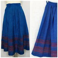 Vintage 60s Pleated Blue Folk Skirt Sz S Holiday Swing Tea Pinup VLV Rockabilly