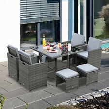 Outsunny 9pc Outdoor Patio Furniture Wicker Dining Set w/ Cushioned Seat