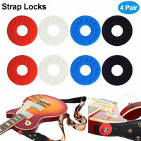Strap Blocks Rubber Guitar Strap Lock System Set Red Black Blue Instruments