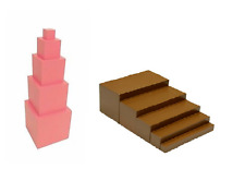 New Montessori Sensorial Material - Toddler Brown Stairs & Toddler Pink Tower