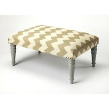 Butler Lucinda Zig Zag Upholstered Cocktail Ottoman, Gray - 3957329