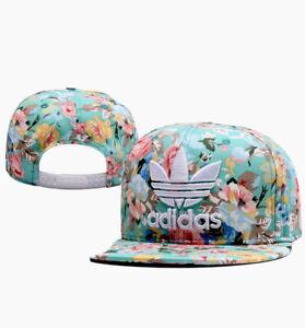 Adidas Originals Floral Trefoil Flatbrim Snapback Cap Teal NWOT