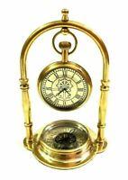 Nautical Maritime Shinny Brass Desk Clock with Brass Compass Antique Home Decor