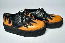 90s Hot Topic size 8? black orange flame creeper platform shoes goth punk oxford