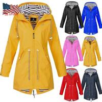 Outdoor Women Raincoat Long Sleeve Jacket Hoodies Waterproof Wind Coat Outwear
