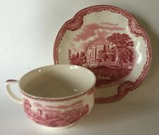 Cup & Saucer Pink OLD BRITAIN CASTLES Johnson Bros 1930s Crown Mark England