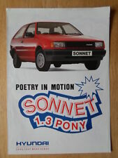 HYUNDAI PONY 1.3 SONNET 1988 Special Limited Edition UK Mkt Sales Brochure