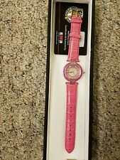 Effy pink saphire and diamond stainless steel ladies watch with crocodile band