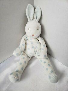 "Bunnies By the Bay Bunny Rabbit Carrots Plush White Blue Dot 16"" Velour Hallmark"